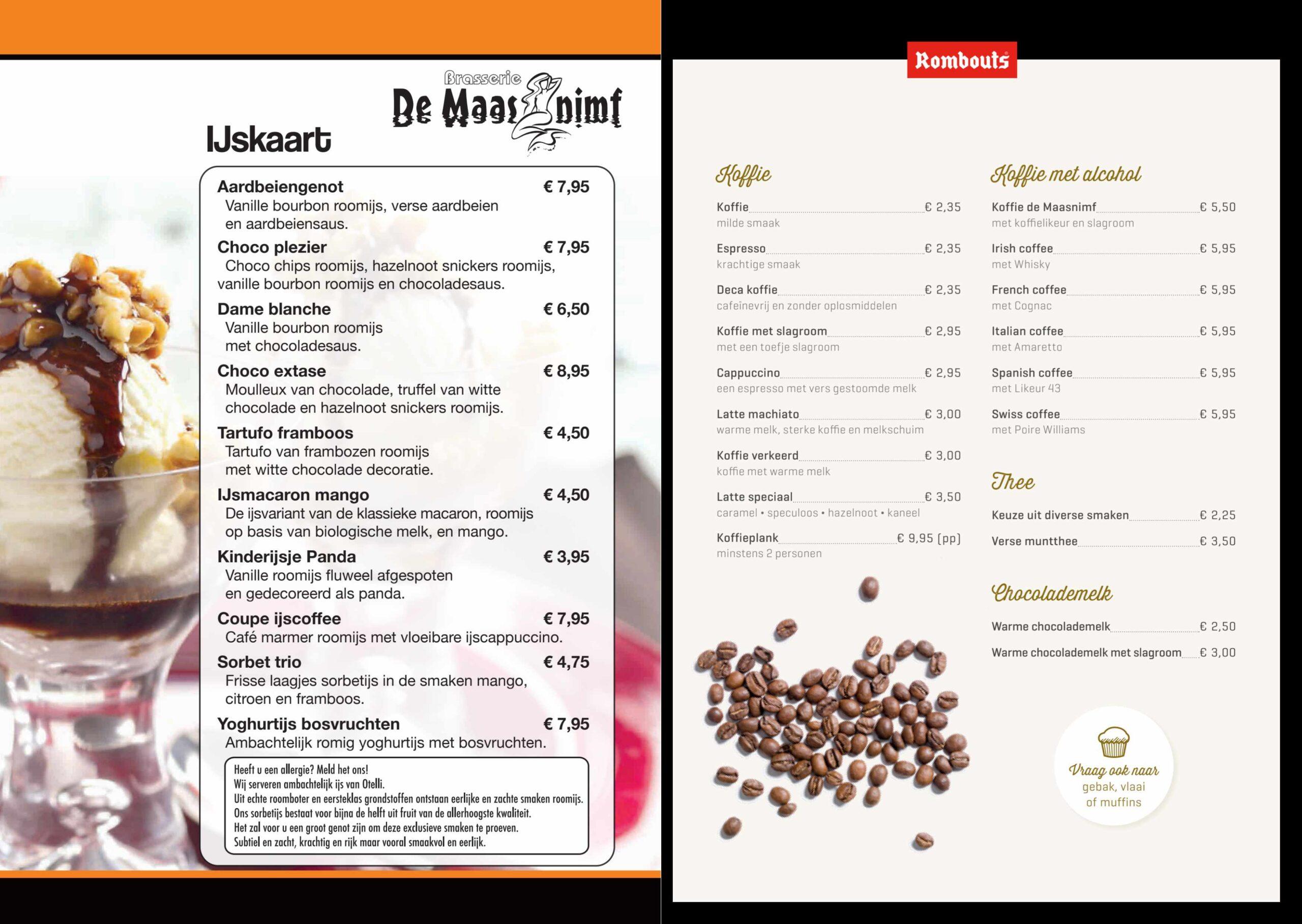 Menukaart Brasserie De Maasnimf