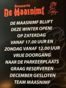 Winterperiode openingstijden Brasserie De Maasnimf